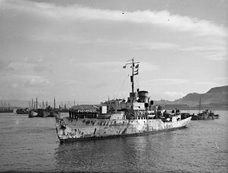 French corvette Aconit - Aconit returning to Greenock 14 March 1943. She sank two U-boats by gunfire and ramming while escorting an Atlantic convoy through a U-boat pack on 10 March 1943