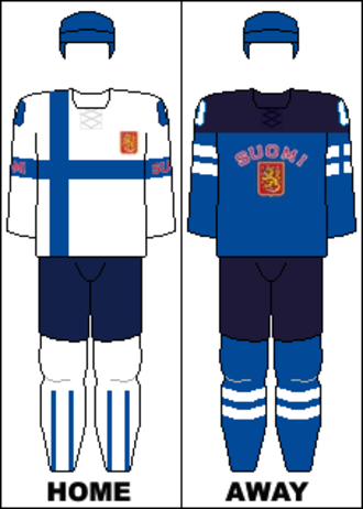 Finland at the 2014 Winter Olympics - Image: Finland national hockey team jerseys 2014 Winter Olympics