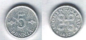 Looped square - The ⌘ symbol on a 1977 Finnish coin