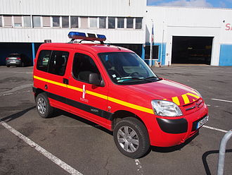 Fire services in France - French Fire brigade Citroën Berlingo in Les Sables-dOlonne