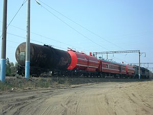 Tank car - Tank cars on a Russian fire train.