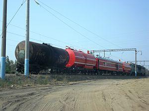 Tank car - Tank cars on a Russian fire train.