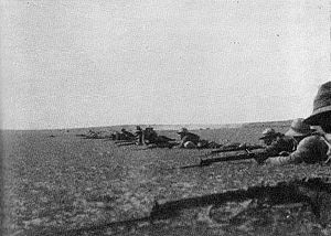 Firing line at the Battle of Rafa 1917.jpg