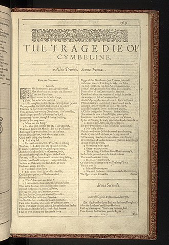 Cymbeline - The first page of Cymbeline from the First Folio of Shakespeare's plays, published in 1623
