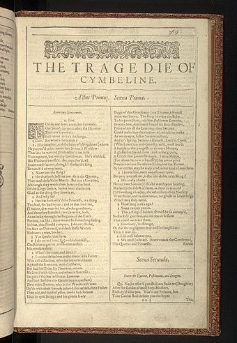 The first page of Cymbeline from the First Folio of Shakespeare's plays, published in 1623. First Folio, Shakespeare - 0876.jpg