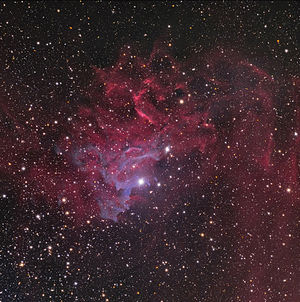Auriga (constellation) - The Flaming Star Nebula (IC 405), and its neighbor IC 410, along with AE Aurigae, which illuminates the nebula.