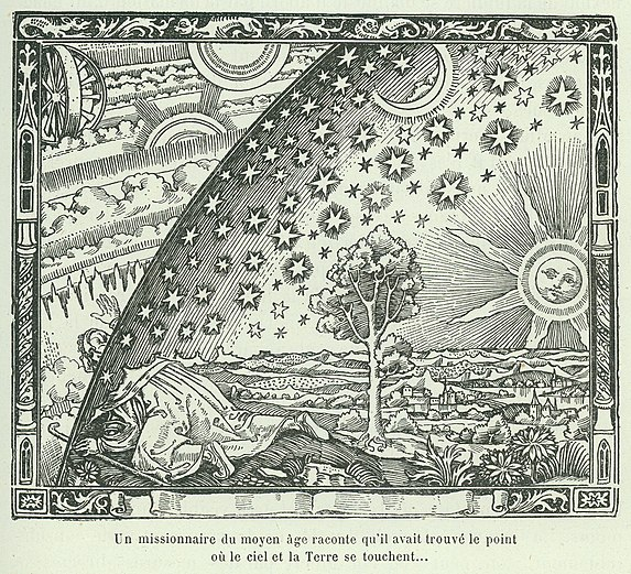 Flammarion's woodcut depicting the early conception of the Firmament, 1888.