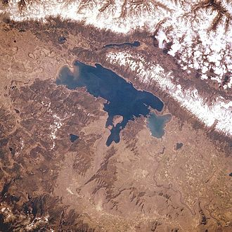 Flathead Lake - Flathead Lake from space, May 1985; note: not a true color image