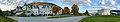 Fleischer's Hotel, Evangervegen E16, Voss stasjon, Voss kulturhus, bibliotek, Voss, Norway 2016-10-25, distorted panorama 02.jpg