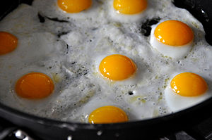 Fried egg - Fried Quail eggs in a cast iron pan