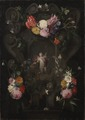 Flowers Around a Cartouche with an Image of Putto - Nationalmuseum - 17635.tif