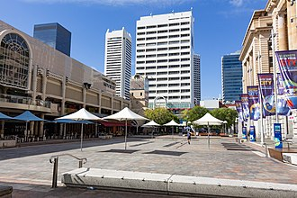 Forrest Place - View south along Forrest Place towards the Murray Street Mall and Carillon City. Forrest Chase is located on the left.