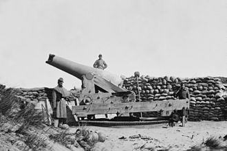 First Battle of Fort Fisher - A damaged Confederate gun at Fort Fisher