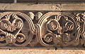 Fr Moselle Hesse Abbey church Romanesque relief Two fishes detail.JPG