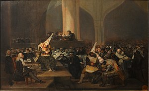 La maja desnuda - Goya, The Inquisition Tribunal, c. 1808–12. Goya detested the inquisition and depicted it in harsh terms a number of times, and satirised it in works such as his c. 1820–1823 Witches' Sabbath