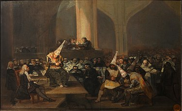 The Inquisition Tribunal as illustrated by Francisco de Goya Francisco de Goya - Escena de Inquisicion - Google Art Project.jpg