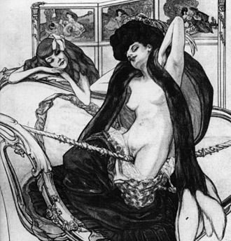 Bondage positions and methods - Dessins Amoureux: Le Jardin d'Aphrodite, a 1907 drawing by Franz von Bayros showing a woman with a crotch rope
