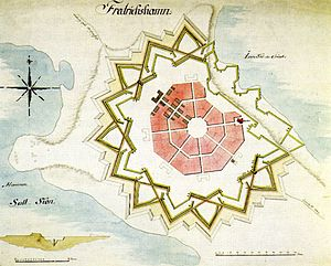Hamina - Plan of the Fredrikshamn fortress town (1723) by Axel Löwen