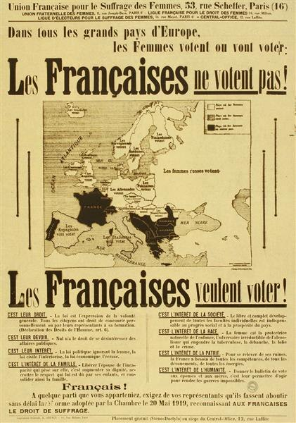 French pro women's suffrage poster 1934