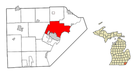 Location within Monroe County, Michigan