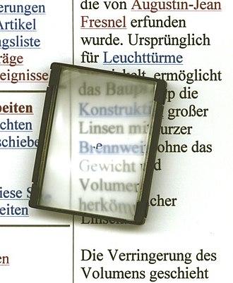 Focusing screen - Image: Fresnellinse mattscheibe