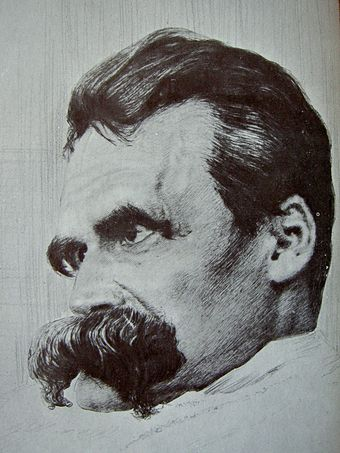 Drawing by Hans Olde from the photographic series, The Ill Nietzsche, late 1899 Friedrich Nietzsche drawn by Hans Olde.jpg
