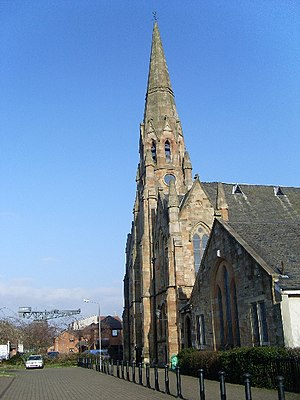 Kinning Park - Image: Front face and spire of Kinning Park Parish Church geograph.org.uk 693435