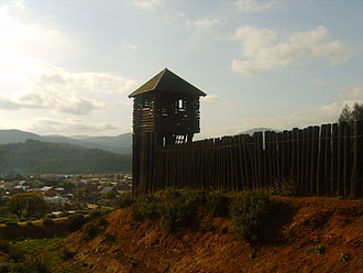 Occupation of Araucanía - View of a modern reconstruction of the Fort of Purén built during the occupation.
