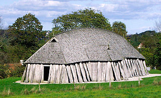 Aggersborg - Reconstruction of a Viking house. This house is located at the ring castle of Fyrkat.