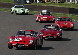 Ferrari 250 GTO - Four 250 GTOs and one 330 GTO (second to last car) at the 2012 Goodwood Revival