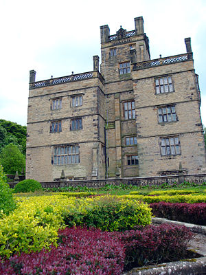 Gawthorpe Hall - The rear of Gawthorpe Hall, with a portion of the rear gardens