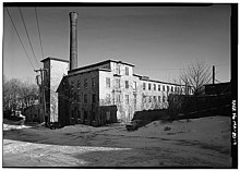 General view of stone mill building - Norfolk Manufacturing Company Cotton Mill, 90 Milton Street, Dedham, Norfolk County, MA.jpg
