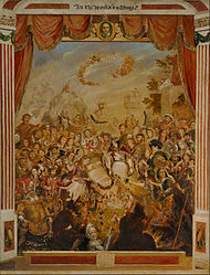 George Cruikshank: The First Appearance of William Shakespeare on the Stage of the Globe Theatre