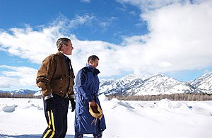 Roland W. Betts - Roland Betts (right) with US President George W. Bush in Jackson Hole, Wyoming, February 9, 2002