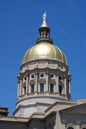 Georgia State Capitol - Detail of the dome and statue of Miss Freedom.