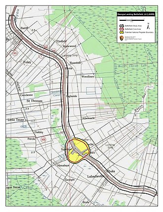 Battle of Georgia Landing - Map of Georgia Landing Battlefield core and study areas by the American Battlefield Protection Program.