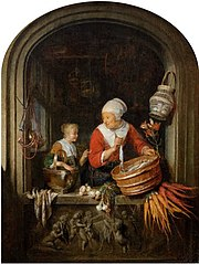Woman selling herring and girl in a window