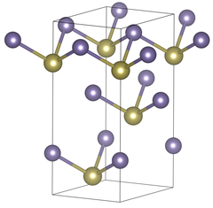 Unit cell of rhombohedral germanium telluride under standard conditions. The purple atoms represent the germanium ions.
