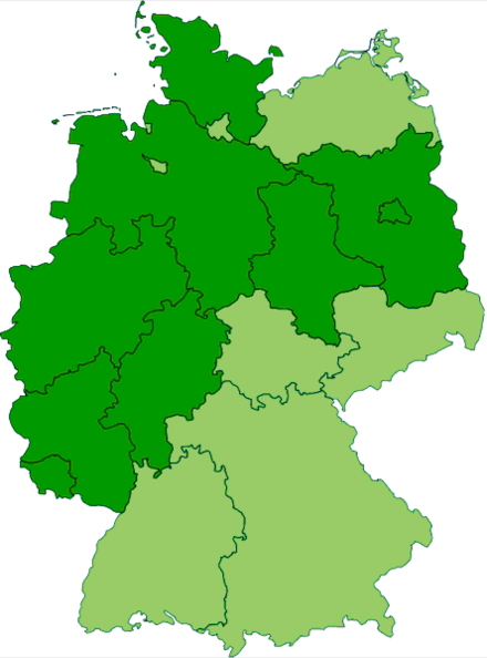 Current states of Germany (shown in dark green) that are completely or mostly situated inside the old borders of Imperial Germany's Kingdom of Prussia Germany former prussian lander.png