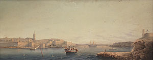 Marsamxett Harbour - Marsamxett Harbour in the 19th century from a painting by Girolamo Gianni