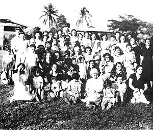 Evacuation of the Gibraltarian civilian population during World War II - A group of Gibraltarians at the Gibraltar Evacuee Camp in Jamaica during World War II evacuation