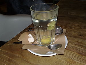 Ginger tea - A glass of ginger tea.
