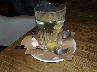 Ginger tea - A glass of ginger tea.