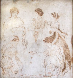 "Phoebe (mythology) - A fresco of Herculaneum showing women playing astragalus, depicting Phoebe, Leto, Niobe, Hilearia, and Agle, painted and signed by an artist named ""Alexander of Athens"", 1st century AD, now in the Museo Archeologico Nazionale (Naples)"