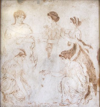 """Phoebe (Titaness) - A fresco of Herculaneum showing women playing astragalus, depicting Phoebe, Leto, Niobe, Hilearia, and Agle, painted and signed by an artist named """"Alexander of Athens"""", 1st century AD, now in the Museo Archeologico Nazionale (Naples)"""