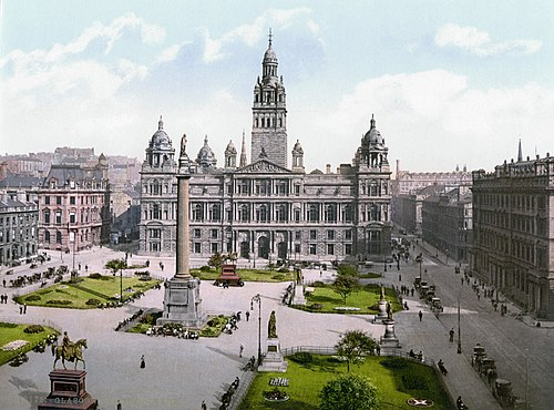 Glasgow City Chambers, located on George Square, is the headquarters of Glasgow City Council and the seat of local government in the city, circa 1900. Glasgow-George-Square.jpg