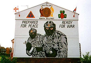 Young Citizen Volunteers (1972) - YCV emblem on a UVF/PAF mural in North Belfast