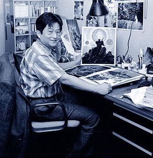 Go Nagai - Go Nagai in his studio, Tokyo, 1987; photo by Sally Larsen