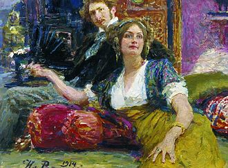 Sergey Gorodetsky - Sergey Gorodetsky and his wife. Portrait by Ilya Repin (1914)