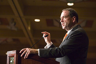 Mike Huckabee 2008 presidential campaign - Mike Huckabee speaking at a Southern California engagement in October 2007.